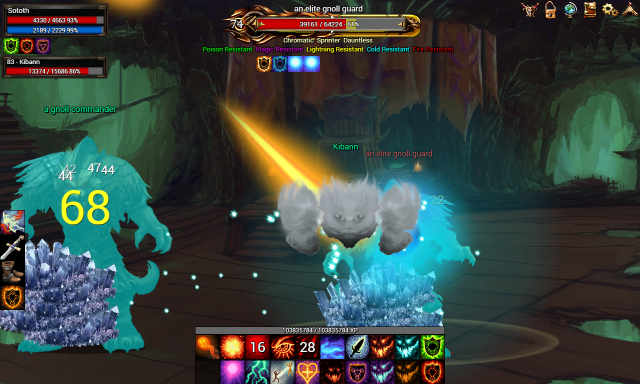 A Magician devastates an elite gnoll guard with a volley of fire and ice.