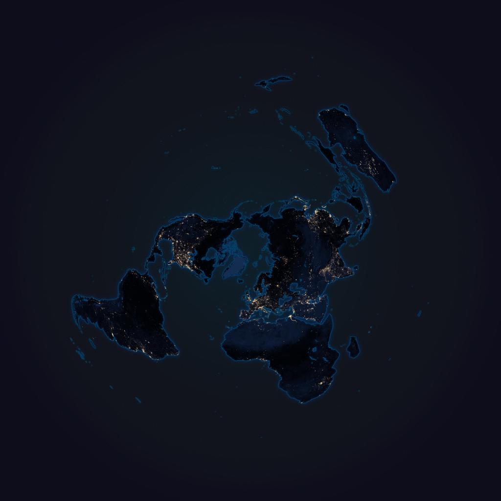 Flat Earth at Night