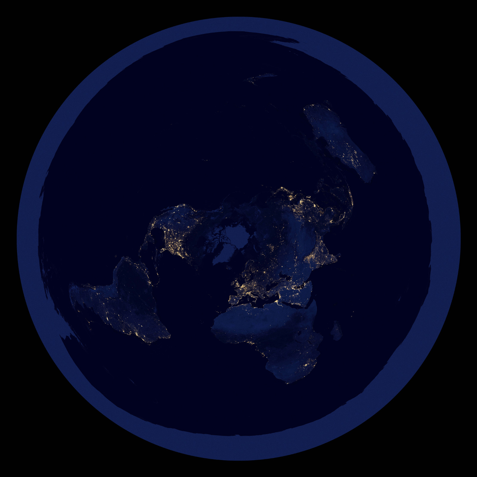 Flat Earth At Night World Map